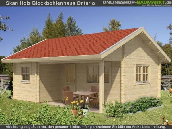 Skan Holz Blockbohlenhaus Ontario, Dach dämmbar für Dachziegel, 70plus, 600 x 500 cm