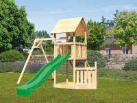 Akubi Spielturm Lotti + Schiffsanbau unten + Einzelschaukel + Rutsche in grün + Netzrampe