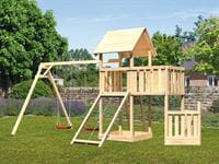 Akubi Spielturm Lotti + Schiffsanbau unten + Anbauplattform + Doppelschaukel + Netzrampe