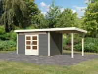 Karibu Woodfeeling Gartenhaus Kandern 7 in terragrau mit Anbaudach 2,35 Meter