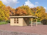 Karibu Aktions Gartenhaus Rastede 4 natur mit Dacheindeckung, Fußboden und Anbaudach 2,2 m