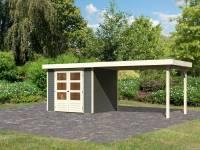Karibu Woodfeeling Gartenhaus Askola 3 in terragrau mit Anbaudach 2,80 Meter