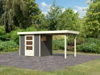 Karibu Woodfeeling Gartenhaus Oburg 2 terragrau mit Anbaudach 2,4 Meter