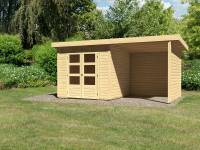 Karibu Woodfeeling Gartenhaus Kandern 3 mit Anbaudach 2,35 Meter und Rück-und Seitenwand