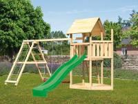 Akubi Spielturm Lotti Satteldach + Schiffsanbau oben + Doppelschaukel mit Klettergerüst + Rutsche in grün